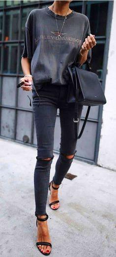 #fall #outfits women's black Harley-Davidson sleeved shirt