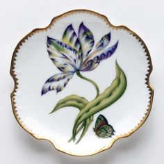 Anna Weatherley Old Master Tulips Yellow, Green, Purple, & Blue Tulip Bread & Butter Plate