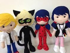 bonecos miraculous em feltro - 4 personagens.