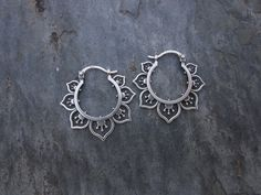 These are the most perfect earrings! Flower Hoops by SBJewelry on Etsy
