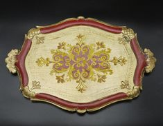 Console Shelf, Salt Box, Gold Background, White Ceramics, Trays, Vintage Shops, Decoupage, Tropical, Italy