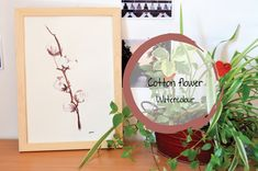 Originals Cotton Flower Watercolor by LeahMassonFR on Etsy