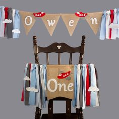 Set of 2 airplane birthday decorations with high chair banner for one year old baby boy and personalized banner wall hanging name Airplane Banner, One Year Old Baby, Burlap Flag, Personalized Banners, High Chair Banner, Name Banners, 1st Boy Birthday, Birthday Decorations, Little Babies