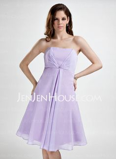 Bridesmaid Dresses - $99.99 - Empire Strapless Knee-Length Chiffon Bridesmaid Dress With Ruffle (007001077) http://jenjenhouse.com/Empire-Strapless-Knee-Length-Chiffon-Bridesmaid-Dress-With-Ruffle-007001077-g1077