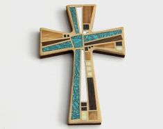 Mosaic Wall Cross - Large - Shades of Brown + Textured Bronze + Copper Glass Handmade Stained Glass Mosaic Cross Wall Decor x Mosaic Birds, Mosaic Crosses, Wooden Crosses, Wall Crosses, Stained Glass Ornaments, Stained Glass Birds, Stained Glass Panels, Mirror Mosaic, Mosaic Wall