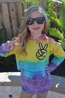 Tie Dye - Kids Peace Hooded Sweatshirt - Tye Dyed Sweatshirt - Ruffles with Love