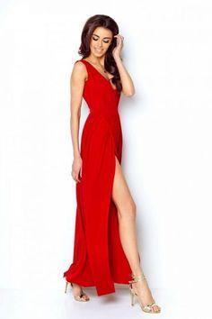 Merveilleuse Robe Chic Rouge Fendue sur le Côté Robe De Soirée Sexy 0d03355c57b