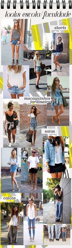 Looks para Escola ou Faculdade no Verão outfit school college what to wear summer