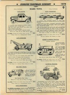 1935 Advert Marx Toy Motorcycle Delivery Spring Motor Tractor Tow Wrecker Truck | eBay