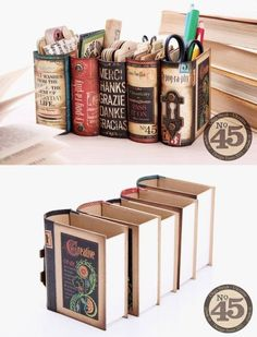 Desk organizers made from book boxes and Graphics 45 scrap booking papers. by Cl… Desk organizers made from book boxes and Graphics 45 scrap booking papers. Diy And Crafts, Arts And Crafts, Paper Crafts, Book Projects, Craft Projects, Craft Ideas, Old Book Crafts, Craft Books, Ideias Diy