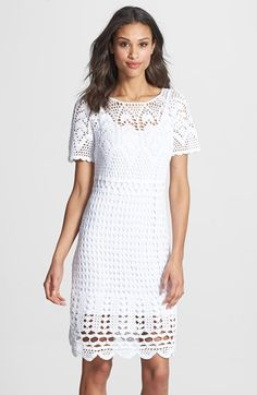 Free shipping and returns on Donna Morgan Cotton Crochet Lace Dress at Nordstrom.com. Exquisite crocheted lace slips over a tonal base to create a prettily patterned summer dress styled with scalloped edges and a cute, open back keyhole.