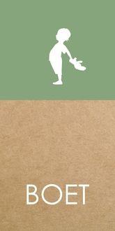Geboortekaartje Boet karton look vintage groen silhouetje