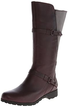 Teva Women's De La Vina Tall Waterproof Leather Boot,Burgundy/Grey,8.5 M US -- Want additional info? Click on the image.