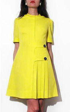 60's Yellow Mini Mod Dress Space Age Gogo Vintage