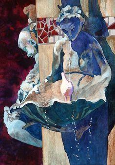 Clamshell Fountain Watercolor Art of Anne Abgott