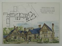 A Beautifully Detailed, Original Plan of The Country Residence of the late Geo. Edmund Street in Holmdale, Surrey, England. From the American Architect and Historical Architecture, School Architecture, Architecture Plan, Villa, British Home, Architectural Antiques, Architectural Drawings, Country House Plans, Country Homes