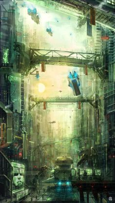In between steel giants by in Unbelievable Futuristic City Illustrations (Corinth) Eclipse Phase Cyberpunk City, Futuristic City, Environment Concept Art, Environment Design, These Broken Stars, Sci Fi City, City Illustration, Matte Painting, Science Fiction Art