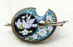 Art Deco Italian Micro Mosaic Lovebird Dove Brooch