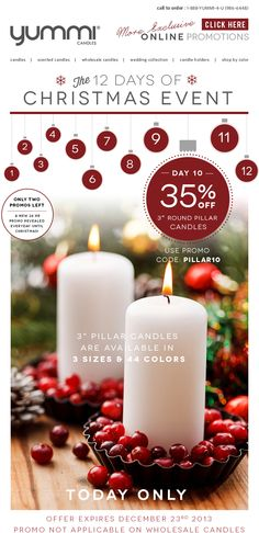 "35% OFF 3"" Round Pillar Candles! - TODAY ONLY - Day 10 In The 12 Days Of Christmas Event!"
