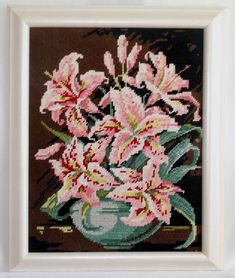 Vintage Needlepoint Pink Tropical Hibiscus Flowers Modernist Still Life Framed Hibiscus Flowers, Tropical Flowers, Pink Painting, Wood Carving Art, Painted Vases, Hand Art, Pink Elephant, Garden Styles, Sculpture Art