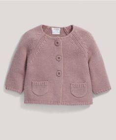 Diy Crafts - Pair this pink cardigan with one of our pin tuck dresses for a complete look suitable for nursery or playtime. Baby Boy Cardigan, Toddler Sweater, Pink Cardigan, Baby Booties Free Pattern, Baby Cardigan Knitting Pattern, Baby Knitting Patterns, Tuck Dress, Knitted Baby Clothes, Baby Boy Outfits