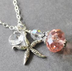 Pink Crystal Pendant Necklace, Starfish Necklace, Sterling Silver Nautical Jewelry, Beach Jewelry