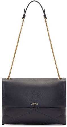 Lanvin Navy Leather Medium Sugar Bag