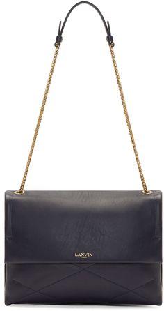 Lanvin Navy Leather Medium Sugar Bag