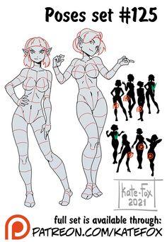 Character Art, Character Design, Human Poses Reference, Fox Illustration, Body Poses, Drawing Base, Action Poses, 2d Art, Cartoon Drawings
