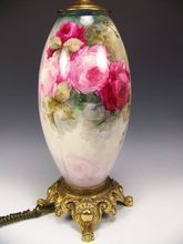 """Absolutely Magnificent Turn-of-the-Century VICTORIAN MASTERPIECE Exquisite and Superbly Hand Painted Drop Dead Gorgeous Roses Antique Porcelain WILLETS BELLEEK Lamp Vase Master Artistry Artist Signed """"Polst"""" circa 1879 -1912"""