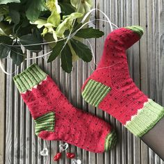 Watermelon are a pair of cuff down socks, with heel flap, stripes and colorwork.