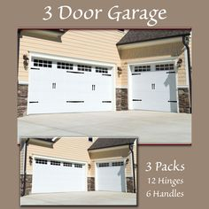 Hinge-It Decorative Garage Door Accents are the patented, easy-to-use decorative magnets that transforms your plain steel garage door into an elegant carriage door--without screws, nails, or damaging construction. These charming magnetic garage door hinges and handles attach to steel doors through strong magnets. The handles and hinges are made from resilient and flexible plastic that is made to be outdoors and in the elements. The strong magnets stay put through wind, rain, and sun. The… Magnetic Garage Door Hardware, Garage Door Hinges, Carriage Garage Doors, Garage Door Decor, Garage Door Styles, Garage Door Makeover, Garage Door Design, Barn Door Hardware, Brown Garage Door