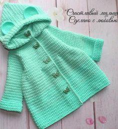 Crochet Baby Sweater Pattern, Baby Sweater Patterns, Baby Dress Patterns, Baby Blanket Crochet, Baby Knitting Patterns, Crochet Toddler, Crochet Baby Clothes, Cute Baby Clothes, Crochet For Kids
