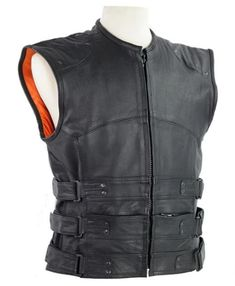 Black Premium Naked Leather Concealed Carry Swat Team Tactical Bulletproof Style Vest Gun Pockets, Hook & Loop Side Adjusters, Orange Liner This FINE nylon lined swat team tactical style vest is made from heavy-duty premium-grade naked leather which has an already 'broken in' feel and known for its durability, minimal flaws, and EXCELLENT wear. Motorcycle Leather, Motorcycle Style, Leather Vest, Cowhide Leather, Biker Vest, Concealed Carry, Swat, Naked, Gun