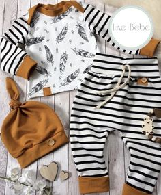 Baby boy gift for baby showers. This high quality newborn boy clothes is printed with stripe pattern. The baby boy clothes comes with 3 pieces, hat, shirt and pant. Baby Outfits Newborn, Baby Boy Newborn, Cute Baby Boy Outfits, Baby Girls, Little Boy Outfits, Toddler Girls, Stripped Pants, Baby Boy Fashion, Newborn Fashion