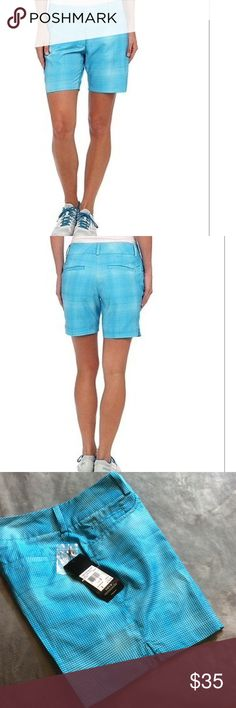 "Adidas plaid golf short sz 2 NWT Adidas solar blue/frost blue plaid golf shorts. Made of climalite material which provides superior wicking to keep you dry and clean. Two front pockets, two single welt back pockets, 7"" graded inseam. Brand mark above back right pocket. Size 2. New with tags. adidas Shorts"