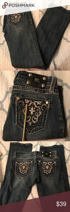 Miss Me JP5395BV Jeans This is a pair of Miss Me Jeans that is in good condition little wear and tear. They do have one jewel missing pointed out in the 2nd pic. There is little to no fraying on the bottoms but they do have normal wear and tear from being worn. The style is JP5395BV boot cut size 24 Miss Me Jeans Boot Cut