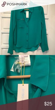Bcbgeneration sheer long sleeve top. NWT. Size S Bcbgeneration sheer long sleeve top. NWT. Size S. zipper pocket detail. Back is a little longer. Super cute! BCBGeneration Tops Blouses