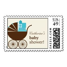 Sweet Baby Carriage Custom Postage Stamp - Blue