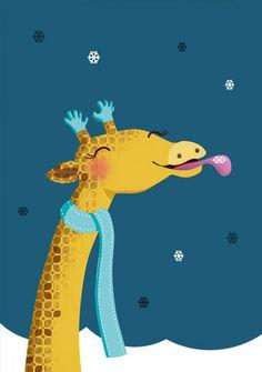 Snow Giraffe   Giraffe catching snow on it's tongue by Lisa Hunt.