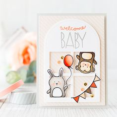 For my card I pulled out a an oldie but goodie; the Stitched Duo 3 die to create a window card for a couple of cute Baby Party Animals.
