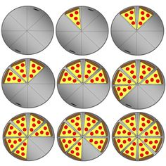 Pizza Party Fractions Clipart Set! This set includes 22 images. Image files are both JPG and PNG (transparent) formats and 300dpi. #TpT #TeacherGems #math
