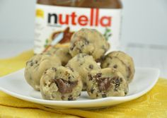 No Bake Stuffed Cookie Dough Bites stuffed with Nutella Use Oat Flour instead of white flour to make Gluten-Free