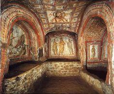 ROMA Catacomb of Commodilla, near Rome, Italy- Art, archeology and architecture Italy Art, Rome Italy, Early Christian, Christian Art, Catholic Saints, Roman Catholic, Fresco, Monuments, The Catacombs