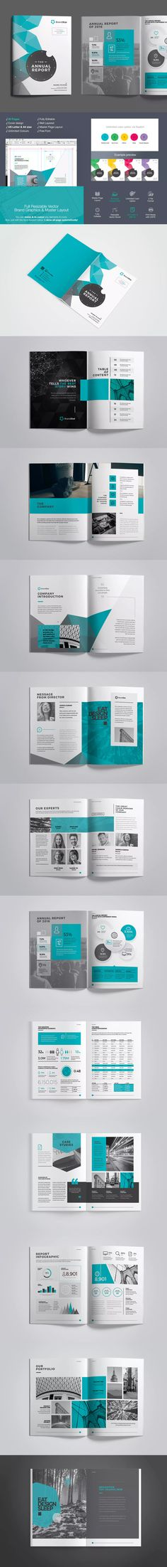 Annual report brochure flyer template, Orange cover design - professional report template