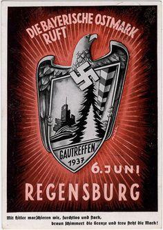 """Propagandapostkarte """"Die Bayerische Ostmark ruft, Gautreffen 6. Juni 1937 in Regensburg"""","""