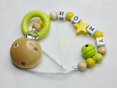 Schnullerkette Wunschname Stern Glocke Baby md220 von myduttel auf DaWanda.com