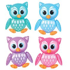Girls of all ages will love these Inflatable Owls. Each Inflatable Vinyl Owl measures 24 inches and comes in a variety of colors - pink, blue, green and purple.