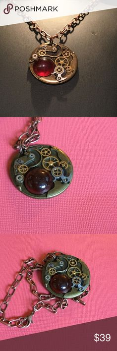 """Steampunk Watch Part Garnet Necklace Handmade with real Watch Parts and natural stone creates this one of a kind piece.  Chain is 22"""" copper link with lobster claw clasp.  No Trades....offers accepted!! ☺️☺️☺️ handmade by HMSimon Jewelry Necklaces"""