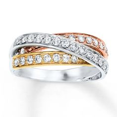KayOutlet - Diamond Ring 3/4 ct tw Round-cut 10K Tri-Color Gold